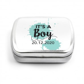 Splatter Boy baby shower Mint Tins