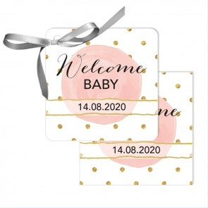 Gold & Pink Baby Shower Favour Tags