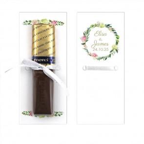 Bohemia Flowers Merci Wedding Chocolate Favour