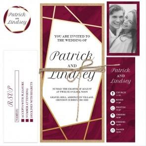 Burgundy Lines Bundle Wedding Invitation