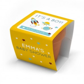 Space baby shower flower pots
