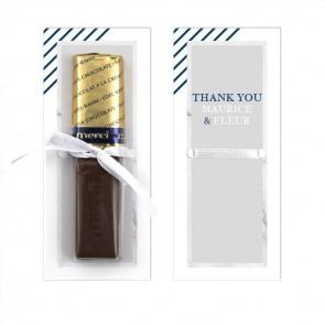 Minimal Blue Merci Wedding Chocolate Favour