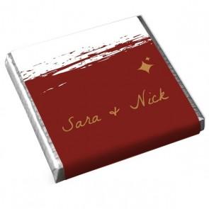 Wedding favour Mini Chocolate Bordeaux Paint