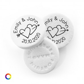 Arrow Hearts personalised wedding mints