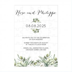Olive Puzzle Invitation Wedding