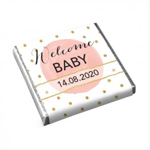 Gold & Pink Mini Chocolates Baby Shower favours