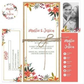 Tropical Flower Bundle Wedding Invitation