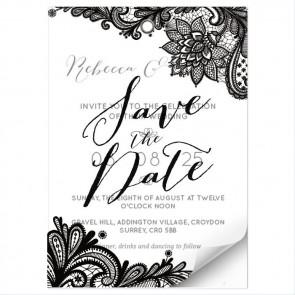 Blue lace design vellum invitation