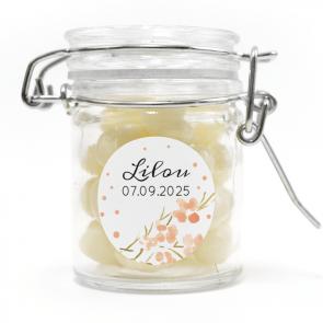 weck jar baby shower favour Peach Dots