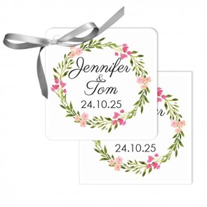 Bohemian Flowers Design Wedding Tags