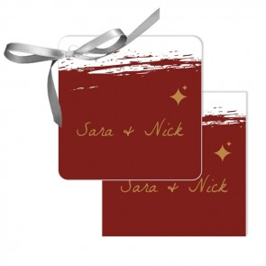 Bordeaux Paint Design Wedding Tags