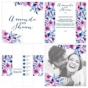 Turning Card Wedding Invitation Cosy Purple