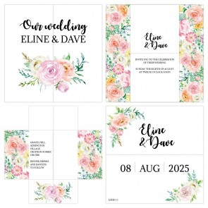 Floral Chic Turning Card Wedding Invitation