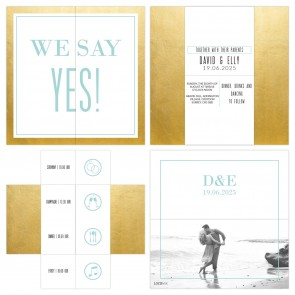 Turning Card Wedding Invitation Gold Foil