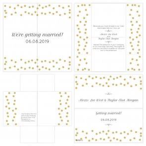 Golden Star Turning Card Wedding Invitation