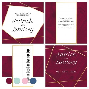 Lines Burgundy Turning Card Wedding Invitation