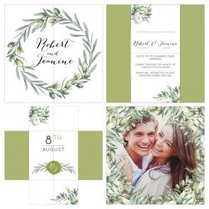Olive Wedding Invitation Turning Card