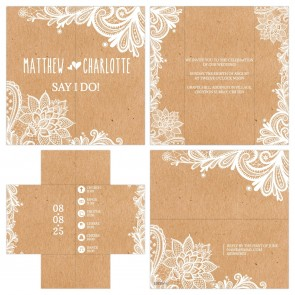 Vintage Lace Turning Card Wedding Invitation