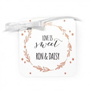 wedding tag with flower crown design
