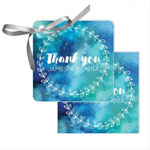 Blue Watercolour Wedding Tags