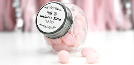 Personalised Candy Jar Wedding Favours