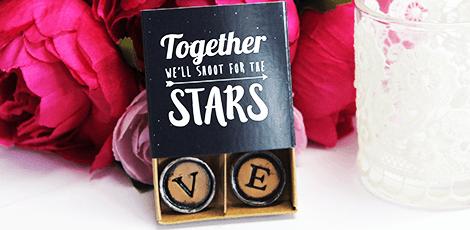 typewriter magnets in chalk design