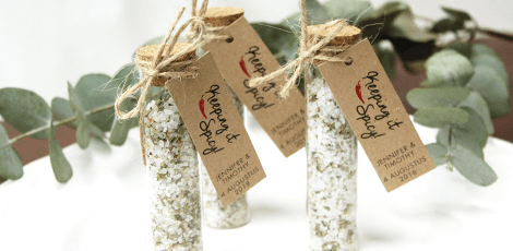 personalised wedding favours: herbal gift tubes