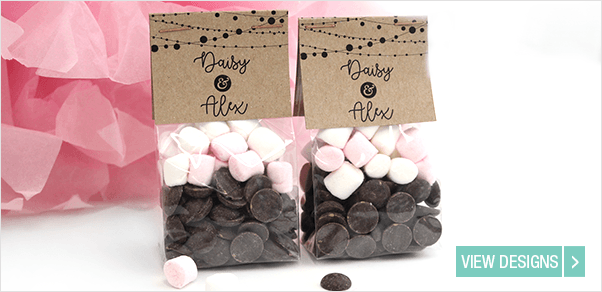 Hot Cocoa Pack favours with marshmallows and chocolates
