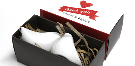 lovebirds wedding favours with personalised box