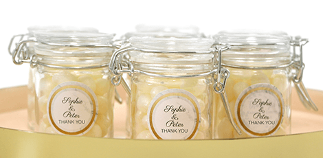 vintage lace design weck jar favours