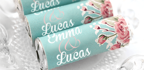personalised mint rolls vintage rose